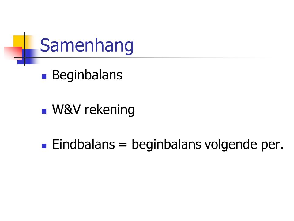 Samenhang Beginbalans W&V rekening Eindbalans = beginbalans volgende per.