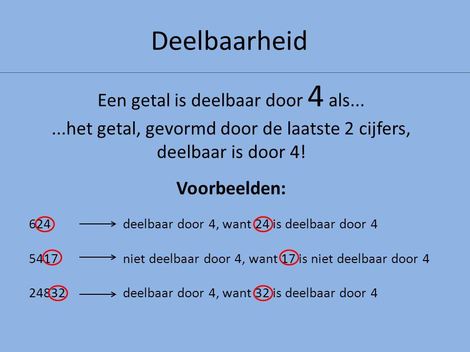Deelbaarheid...het getal, gevormd door de laatste 2 cijfers, deelbaar is door 4! Een getal is deelbaar door 4 als... Voorbeelden: 624deelbaar door 4,