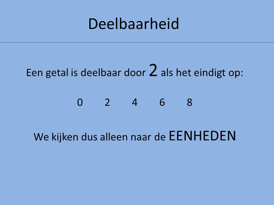 Deelbaarheid Een getal is deelbaar door 2 als het eindigt op: 0246802468 We kijken dus alleen naar de EENHEDEN De grootst mogelijke rest is: