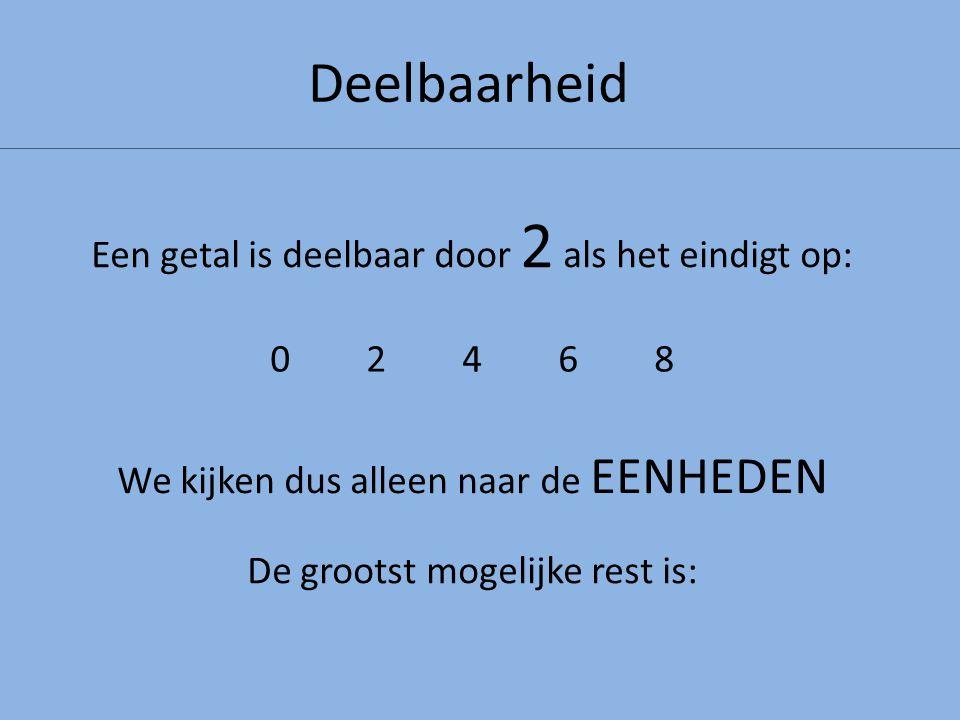 Deelbaarheid Een getal is deelbaar door 2 als het eindigt op: 0246802468 We kijken dus alleen naar de EENHEDEN De grootst mogelijke rest is: 1