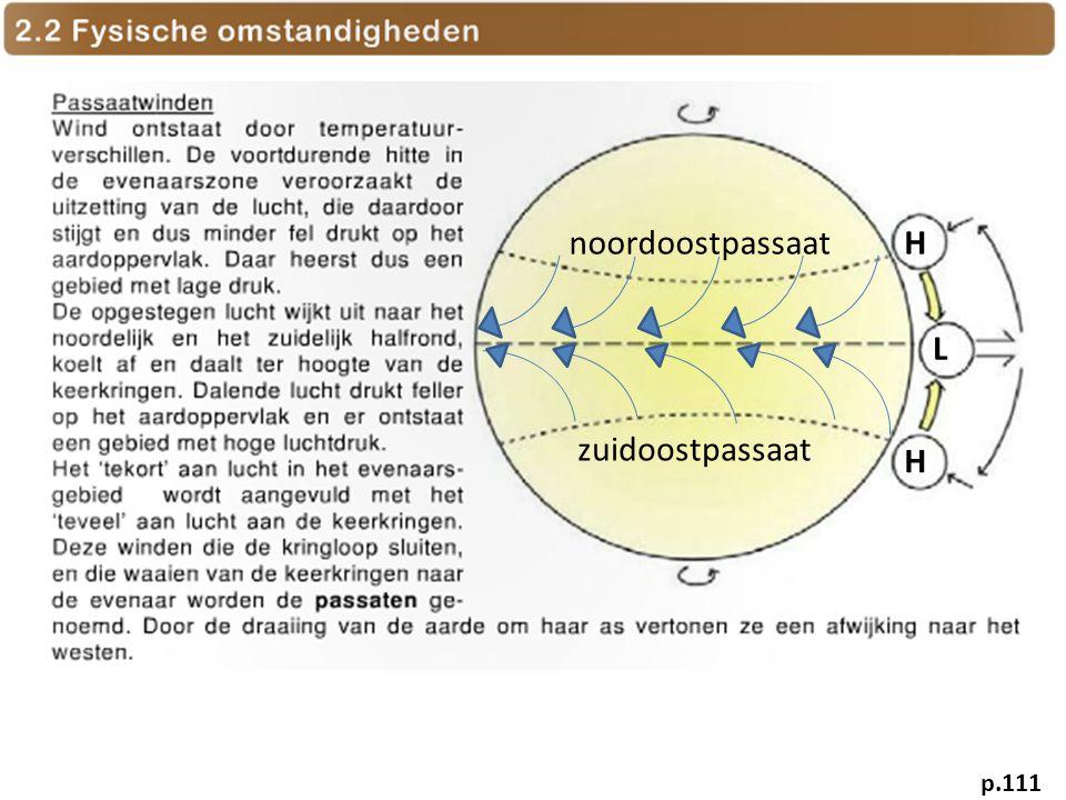 H H L noordoostpassaat zuidoostpassaat p.111
