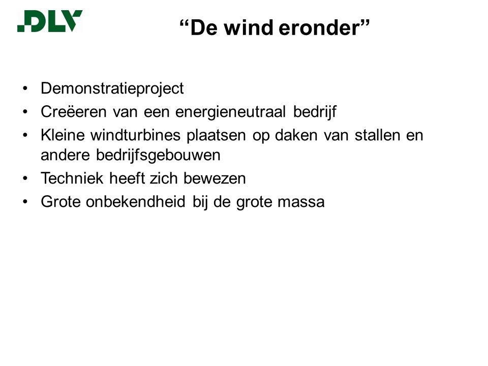 De wind eronder Demonstratieproject Creëeren van een energieneutraal bedrijf Kleine windturbines plaatsen op daken van stallen en andere bedrijfsgebouwen Techniek heeft zich bewezen Grote onbekendheid bij de grote massa