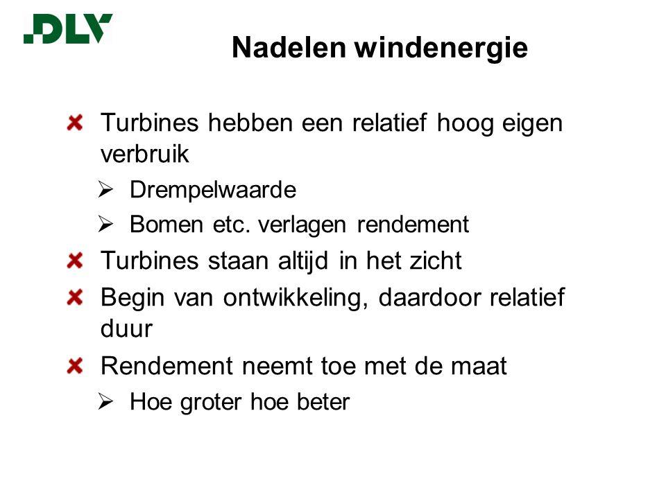 Nadelen windenergie Turbines hebben een relatief hoog eigen verbruik  Drempelwaarde  Bomen etc.