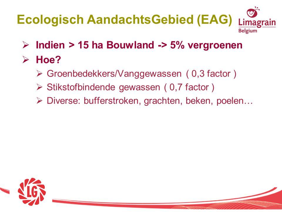  Indien > 15 ha Bouwland -> 5% vergroenen  Hoe?  Groenbedekkers/Vanggewassen ( 0,3 factor )  Stikstofbindende gewassen ( 0,7 factor )  Diverse: b