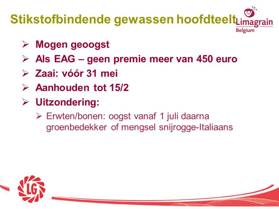  Mogen geoogst  Als EAG – geen premie meer van 450 euro  Zaai: vóór 31 mei  Aanhouden tot 15/2  Uitzondering:  Erwten/bonen: oogst vanaf 1 juli