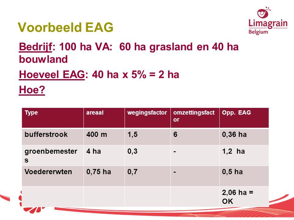 Voorbeeld EAG Bedrijf: 100 ha VA: 60 ha grasland en 40 ha bouwland Hoeveel EAG: 40 ha x 5% = 2 ha Hoe? Typeareaalwegingsfactoromzettingsfact or Opp. E