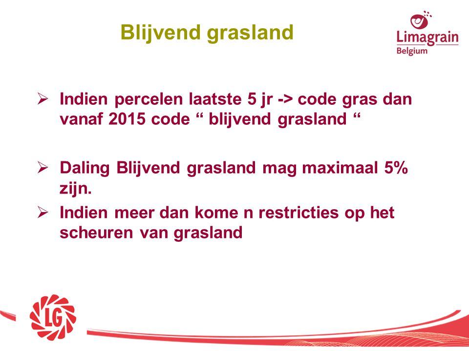 """ Indien percelen laatste 5 jr -> code gras dan vanaf 2015 code """" blijvend grasland """"  Daling Blijvend grasland mag maximaal 5% zijn.  Indien meer d"""