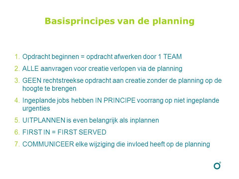 Basisprincipes van de planning 1.Opdracht beginnen = opdracht afwerken door 1 TEAM 2.ALLE aanvragen voor creatie verlopen via de planning 3.GEEN rechtstreekse opdracht aan creatie zonder de planning op de hoogte te brengen 4.Ingeplande jobs hebben IN PRINCIPE voorrang op niet ingeplande urgenties 5.UITPLANNEN is even belangrijk als inplannen 6.FIRST IN = FIRST SERVED 7.COMMUNICEER elke wijziging die invloed heeft op de planning