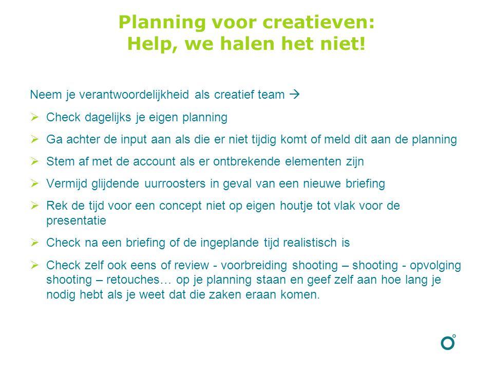 Planning voor creatieven: Help, we halen het niet.