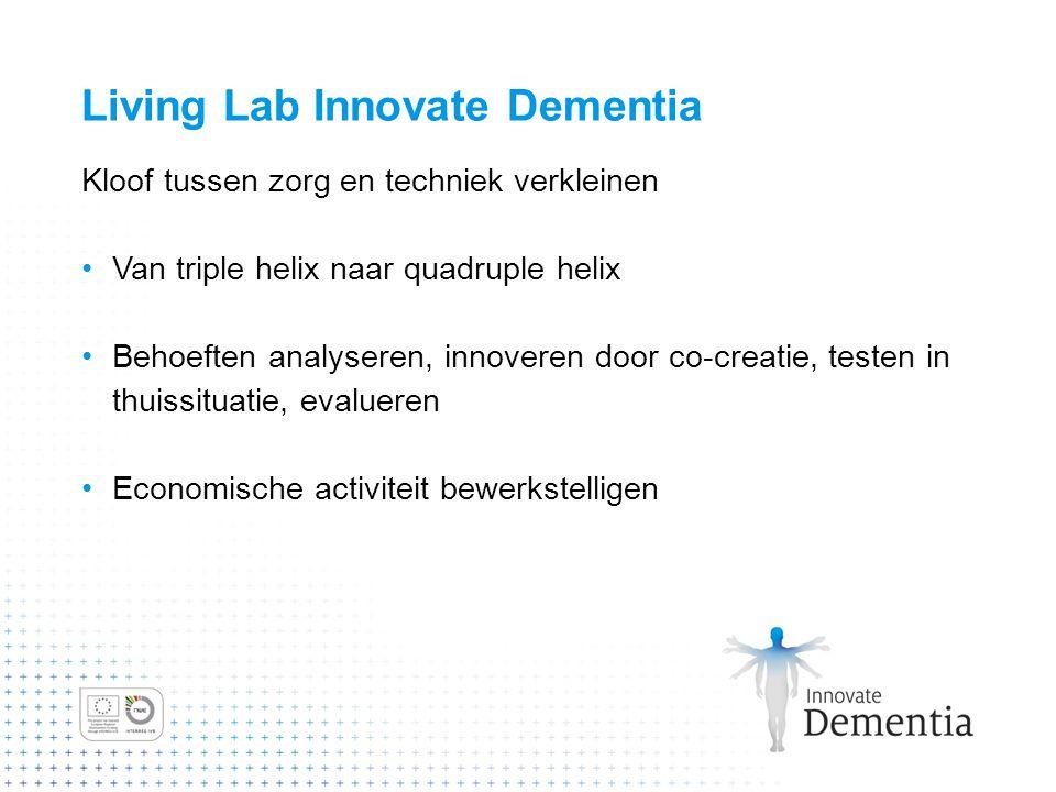 Living Lab Innovate Dementia Kloof tussen zorg en techniek verkleinen Van triple helix naar quadruple helix Behoeften analyseren, innoveren door co-cr