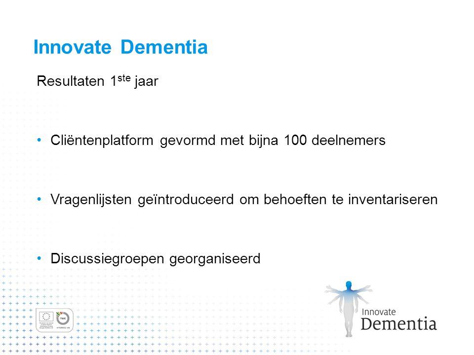 Innovate Dementia Resultaten 1 ste jaar Cliëntenplatform gevormd met bijna 100 deelnemers Vragenlijsten geïntroduceerd om behoeften te inventariseren