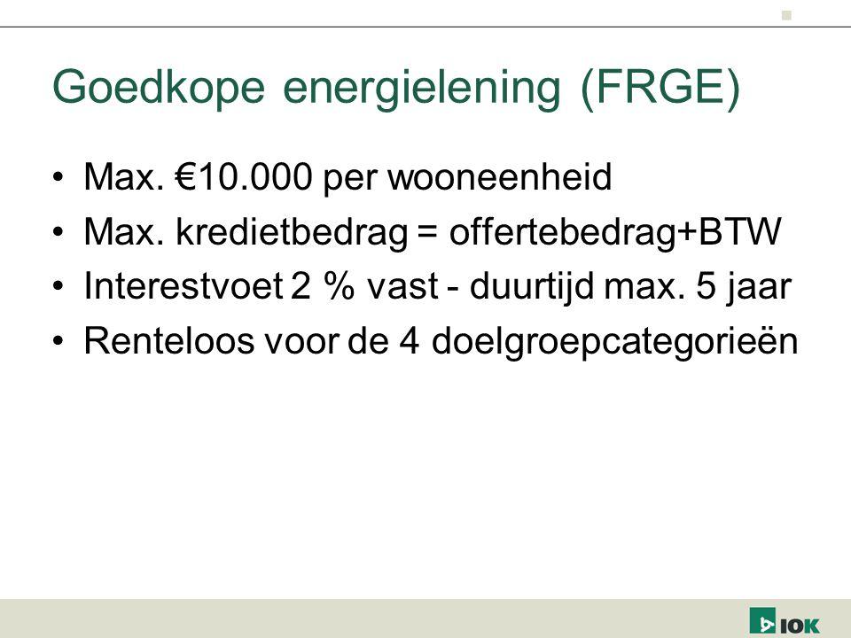 Goedkope energielening (FRGE) Max. €10.000 per wooneenheid Max.