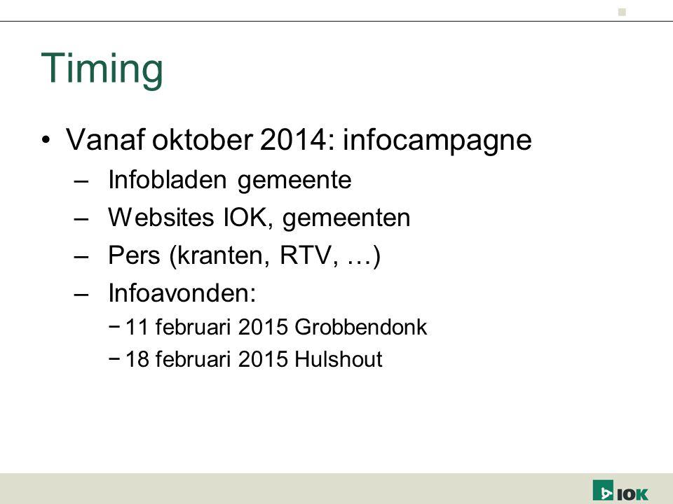 Timing Vanaf oktober 2014: infocampagne –Infobladen gemeente –Websites IOK, gemeenten –Pers (kranten, RTV, …) –Infoavonden: −11 februari 2015 Grobbendonk −18 februari 2015 Hulshout
