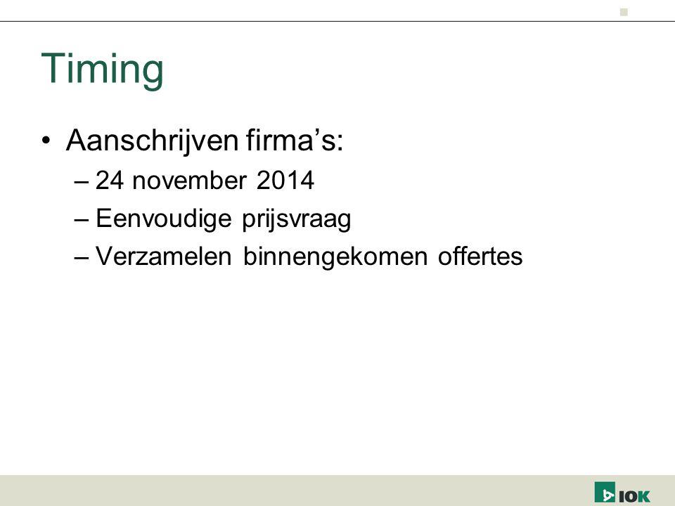 Timing Aanschrijven firma's: –24 november 2014 –Eenvoudige prijsvraag –Verzamelen binnengekomen offertes