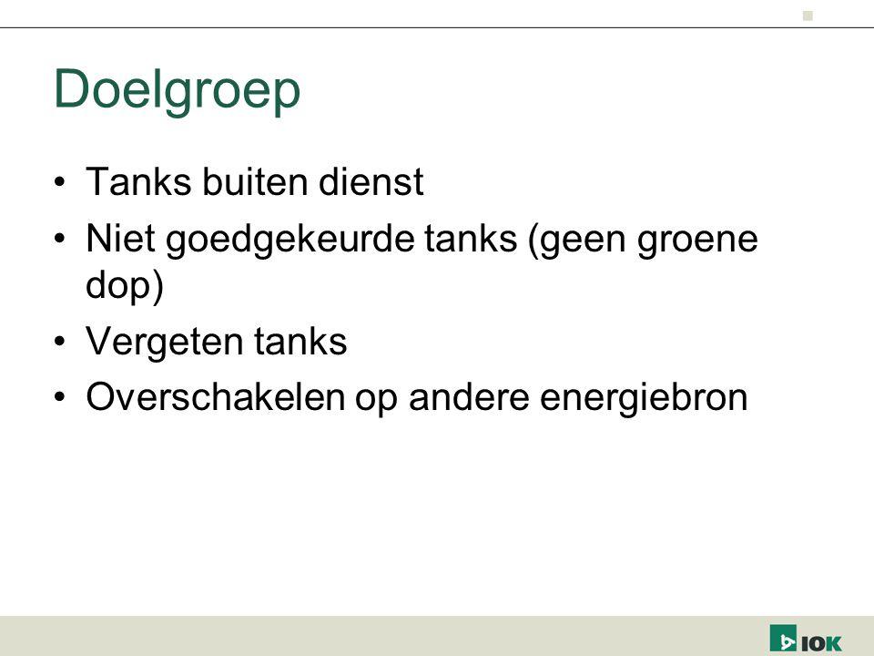 Doelgroep Tanks buiten dienst Niet goedgekeurde tanks (geen groene dop) Vergeten tanks Overschakelen op andere energiebron