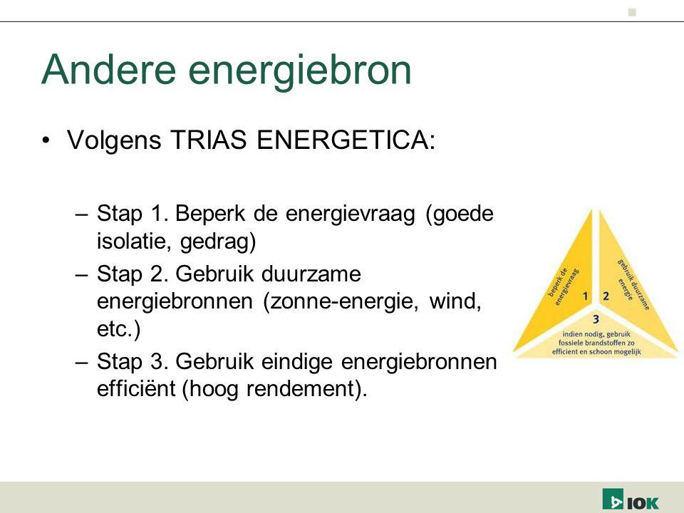 Andere energiebron Volgens TRIAS ENERGETICA: –Stap 1.