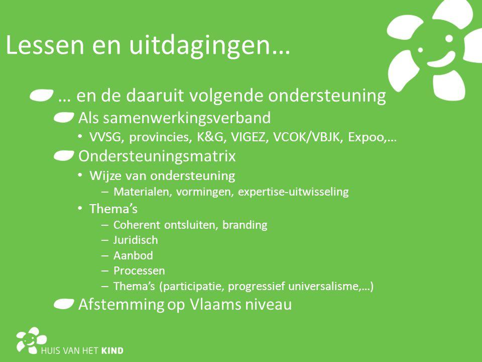 … en de daaruit volgende ondersteuning Als samenwerkingsverband VVSG, provincies, K&G, VIGEZ, VCOK/VBJK, Expoo,… Ondersteuningsmatrix Wijze van ondersteuning – Materialen, vormingen, expertise-uitwisseling Thema's – Coherent ontsluiten, branding – Juridisch – Aanbod – Processen – Thema's (participatie, progressief universalisme,…) Afstemming op Vlaams niveau Lessen en uitdagingen…