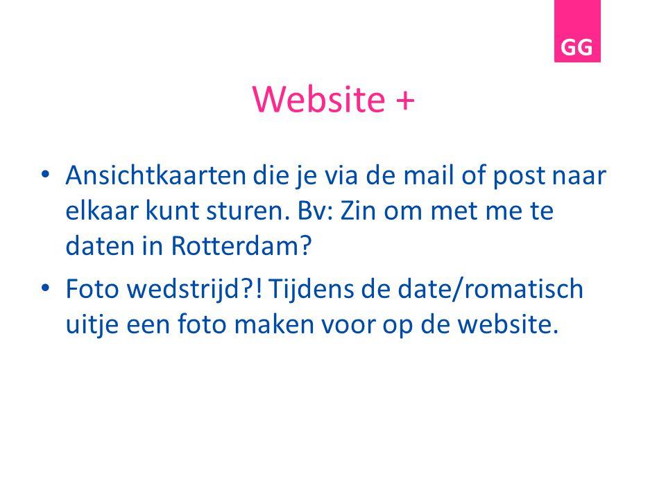 Website + Ansichtkaarten die je via de mail of post naar elkaar kunt sturen. Bv: Zin om met me te daten in Rotterdam? Foto wedstrijd?! Tijdens de date