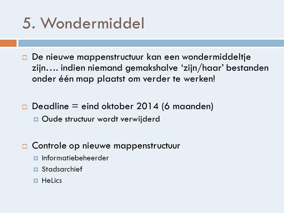5.Wondermiddel  De nieuwe mappenstructuur kan een wondermiddeltje zijn….