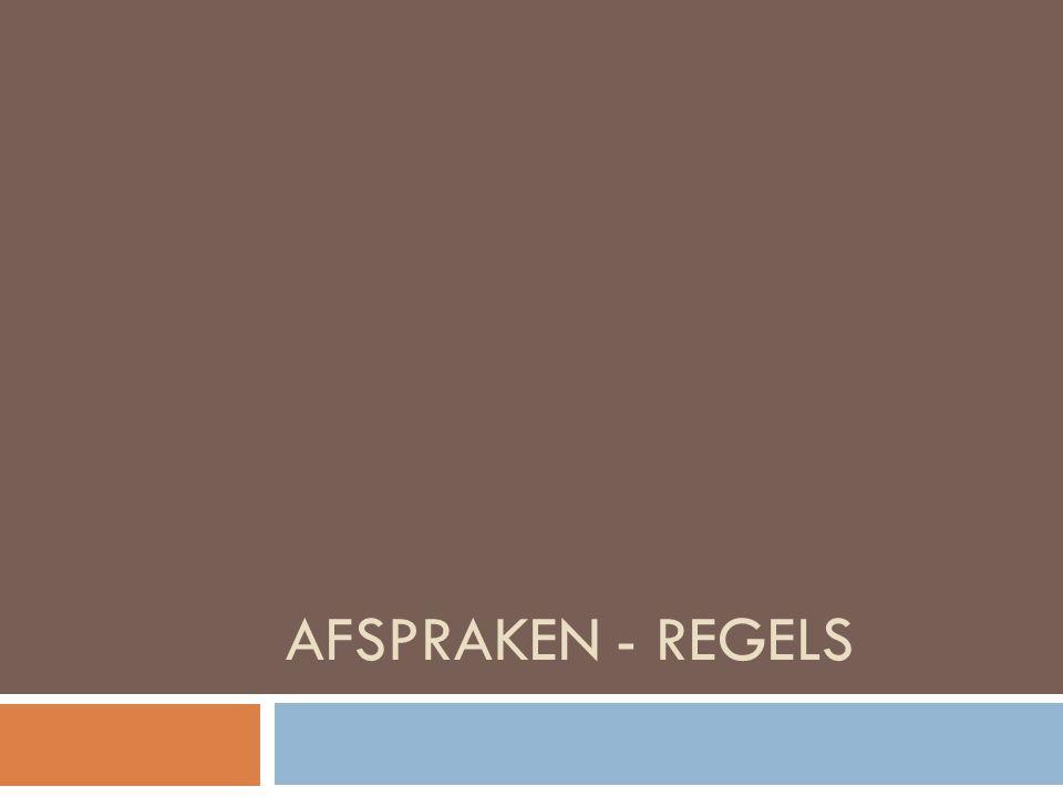 AFSPRAKEN - REGELS
