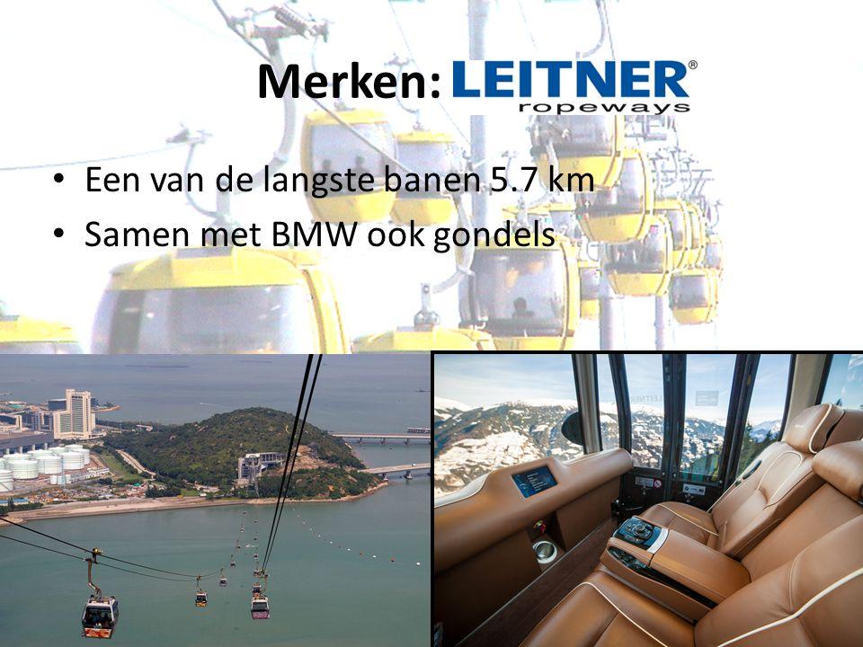 Merken: Leitner Een van de langste banen 5.7 km Samen met BMW ook gondels