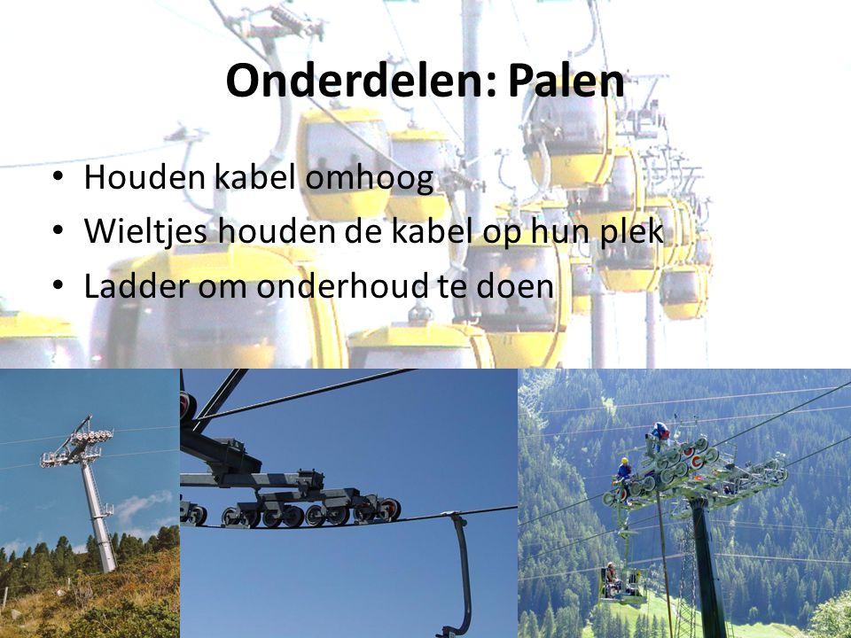 Onderdelen: Palen Houden kabel omhoog Wieltjes houden de kabel op hun plek Ladder om onderhoud te doen