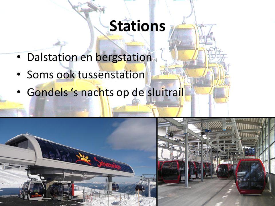 Stations Dalstation en bergstation Soms ook tussenstation Gondels 's nachts op de sluitrail