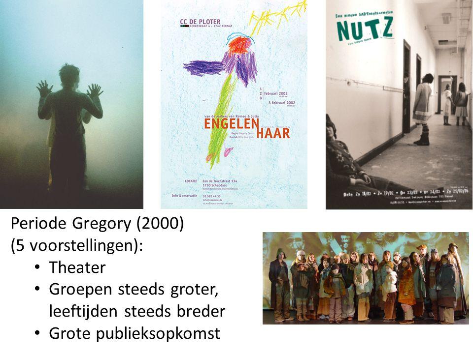 Periode Gregory (2000) (5 voorstellingen): Theater Groepen steeds groter, leeftijden steeds breder Grote publieksopkomst