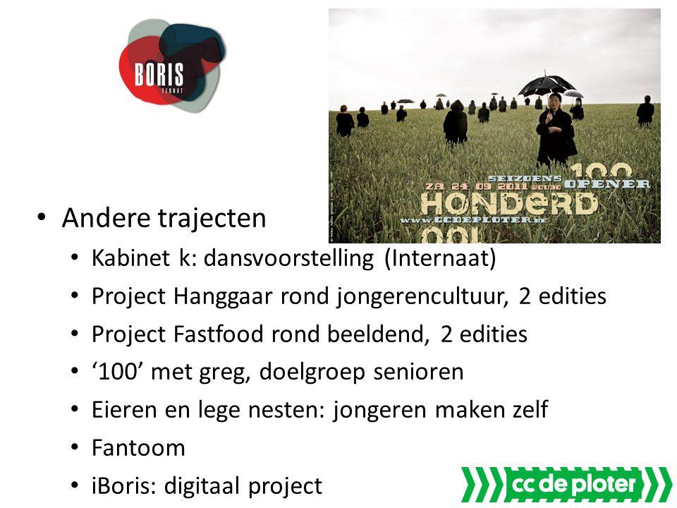 Andere trajecten Kabinet k: dansvoorstelling (Internaat) Project Hanggaar rond jongerencultuur, 2 edities Project Fastfood rond beeldend, 2 edities '1