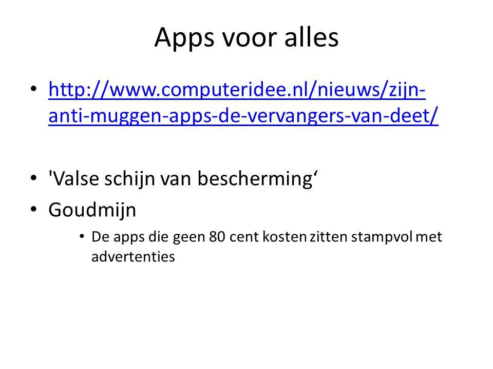 Apps voor alles http://www.computeridee.nl/nieuws/zijn- anti-muggen-apps-de-vervangers-van-deet/ http://www.computeridee.nl/nieuws/zijn- anti-muggen-apps-de-vervangers-van-deet/ Valse schijn van bescherming' Goudmijn De apps die geen 80 cent kosten zitten stampvol met advertenties