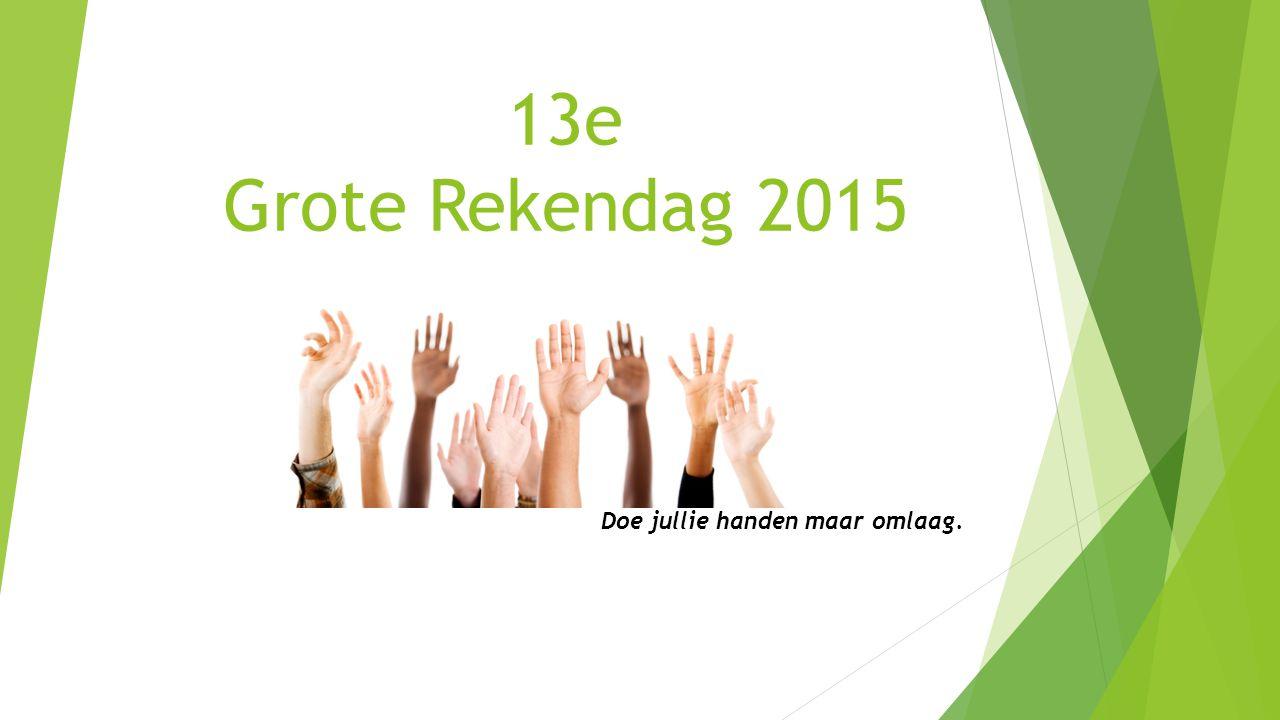 13e Grote Rekendag 2015 Doe jullie handen maar omlaag.