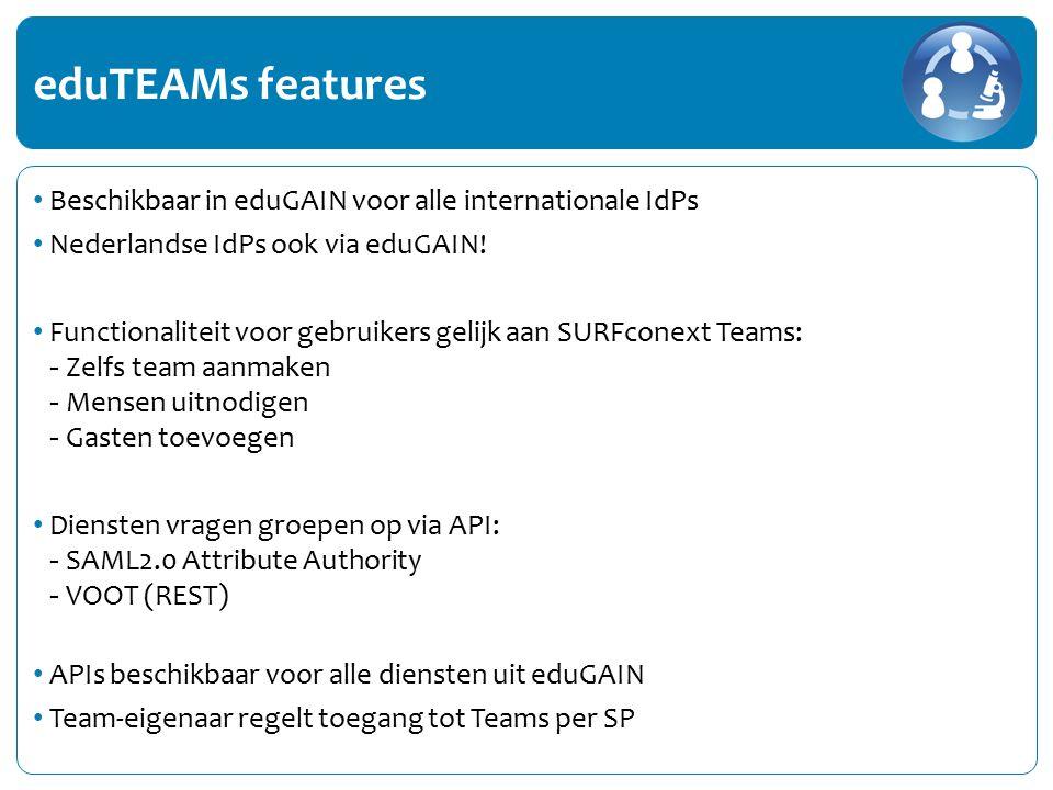Experimentele dienst Vanaf vandaag beschikbaar in eduGAIN en SURFconext Om te koppelen: SURFconext Dashboard (maar: IdP in eduGAIN nodig) Buitenlandse partners koppelen direct via eduGAIN Geïnteresseerd in pilot.