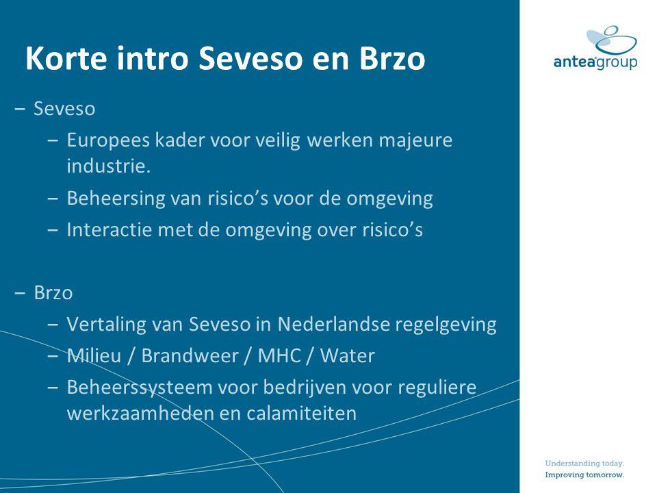 Korte intro Seveso en Brzo ‒Seveso ‒Europees kader voor veilig werken majeure industrie. ‒Beheersing van risico's voor de omgeving ‒Interactie met de