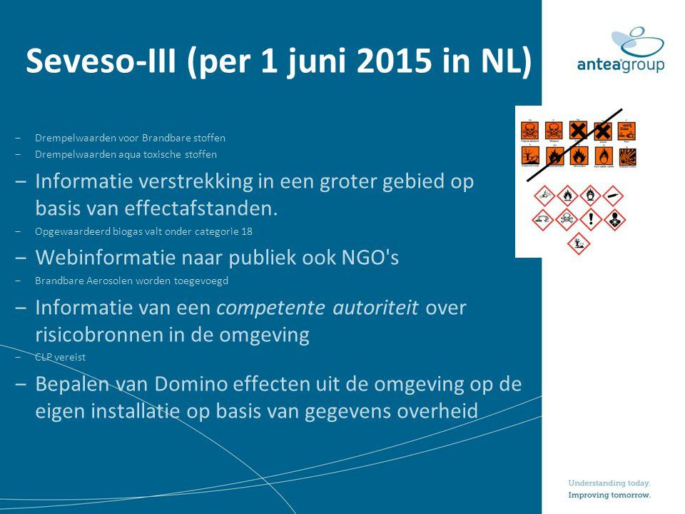 Seveso-III (per 1 juni 2015 in NL) ‒Drempelwaarden voor Brandbare stoffen ‒Drempelwaarden aqua toxische stoffen ‒Informatie verstrekking in een groter