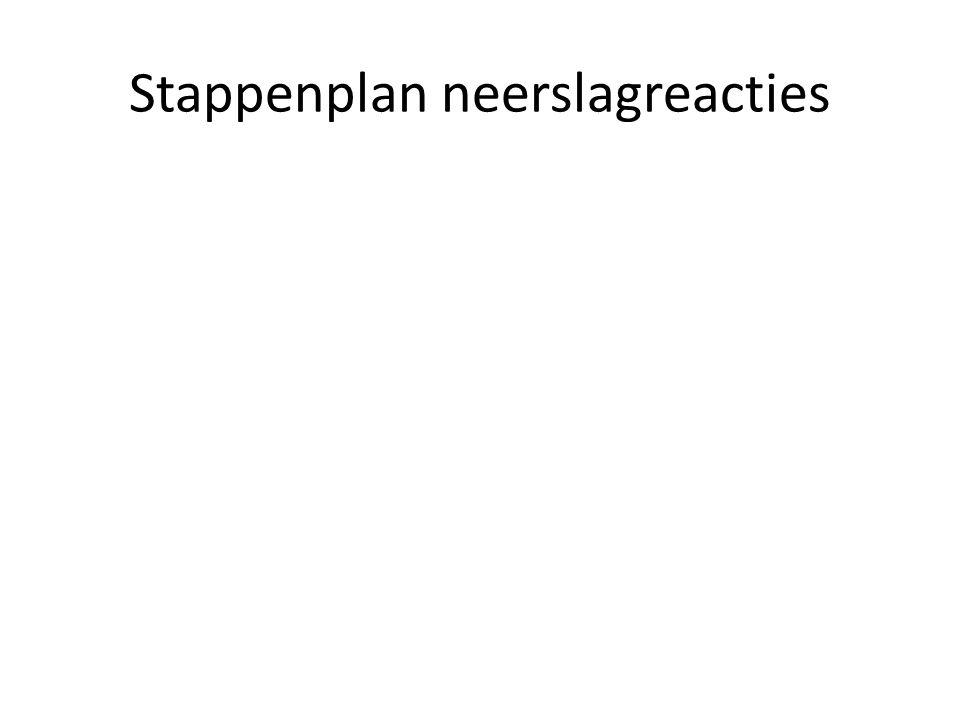 Stappenplan neerslagreacties We voegen lood(II) nitraat bij een oplossing van kaliumjodide Geef de neerslagvergelijking.