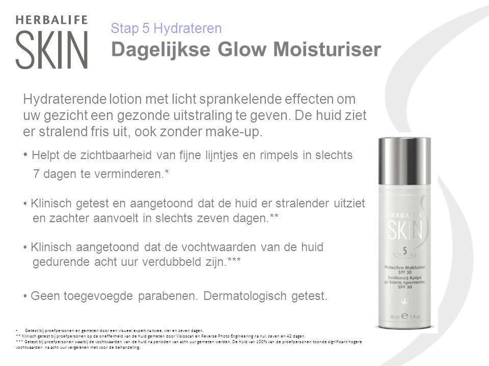 Stap 5 Hydrateren Dagelijkse Glow Moisturiser Hydraterende lotion met licht sprankelende effecten om uw gezicht een gezonde uitstraling te geven. De h