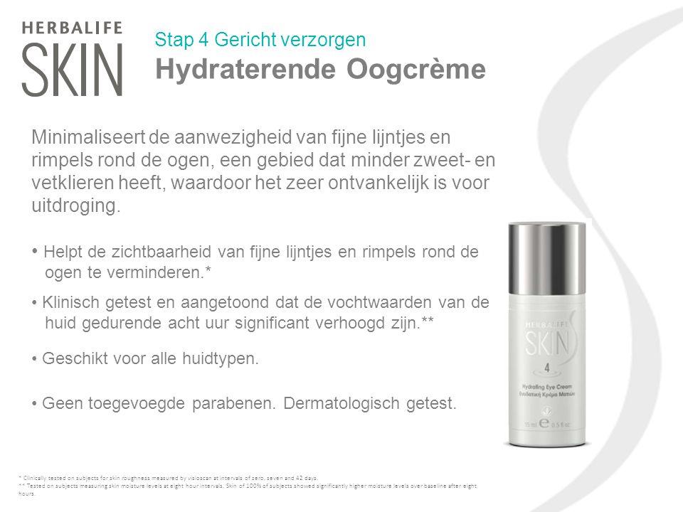 Stap 4 Gericht verzorgen Hydraterende Oogcrème Minimaliseert de aanwezigheid van fijne lijntjes en rimpels rond de ogen, een gebied dat minder zweet-