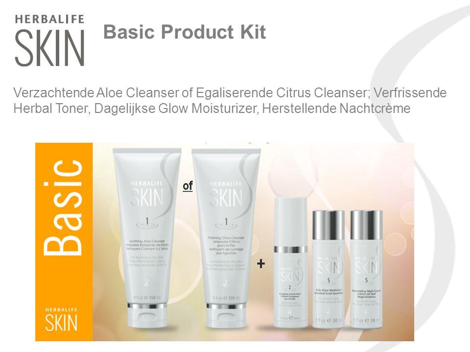 Basic Product Kit Verzachtende Aloe Cleanser of Egaliserende Citrus Cleanser; Verfrissende Herbal Toner, Dagelijkse Glow Moisturizer, Herstellende Nac