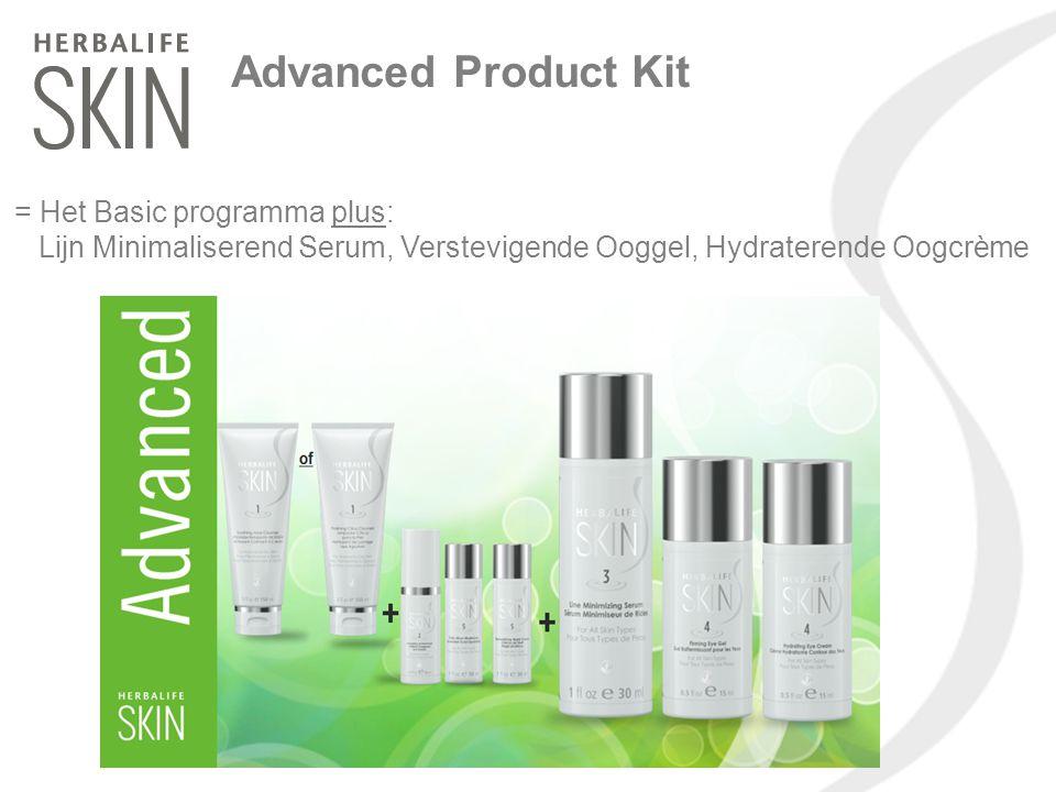 Advanced Product Kit = Het Basic programma plus: Lijn Minimaliserend Serum, Verstevigende Ooggel, Hydraterende Oogcrème