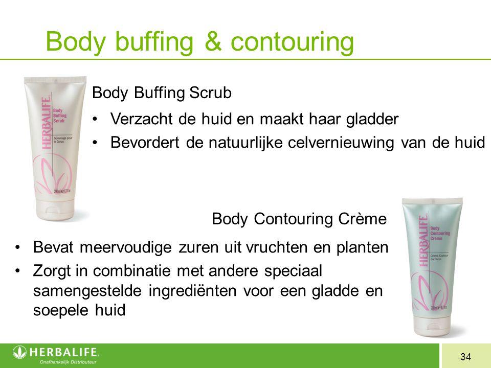 34 Body buffing & contouring Body Buffing Scrub Verzacht de huid en maakt haar gladder Bevordert de natuurlijke celvernieuwing van de huid Body Contou