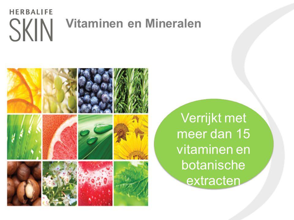 Verrijkt met meer dan 15 vitaminen en botanische extracten Vitaminen en Mineralen