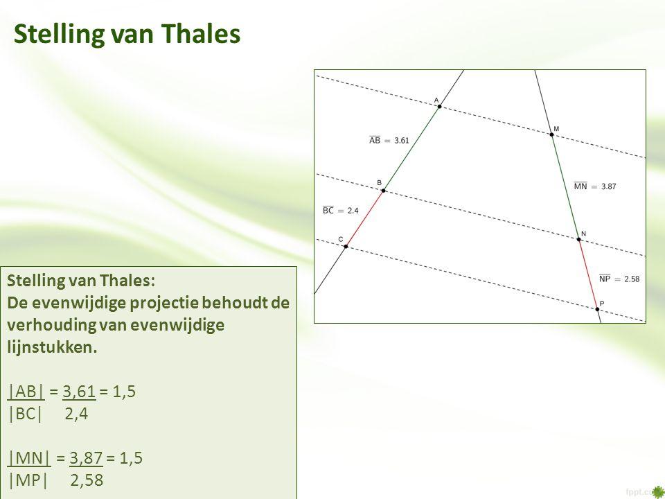 Stelling van Thales Stelling van Thales: De evenwijdige projectie behoudt de verhouding van evenwijdige lijnstukken. |AB| = 3,61 = 1,5 |BC| 2,4 |MN| =