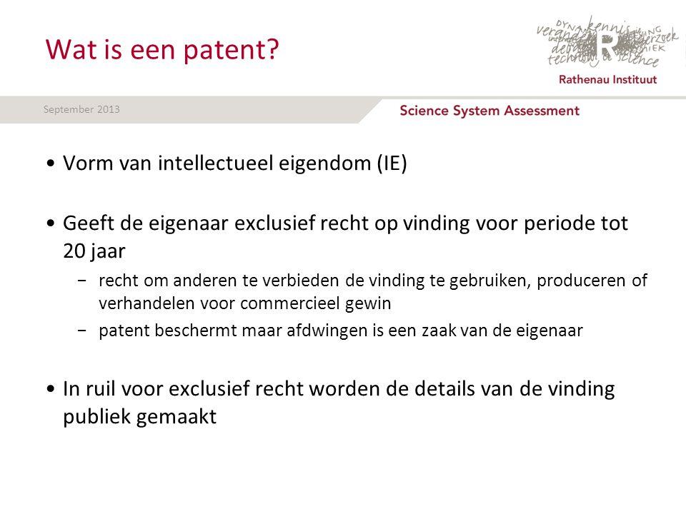 September 2013 Wat is een patent? Vorm van intellectueel eigendom (IE) Geeft de eigenaar exclusief recht op vinding voor periode tot 20 jaar −recht om