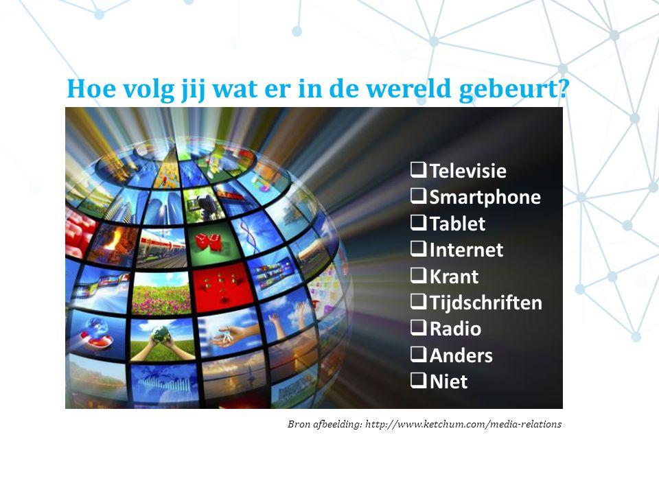  Televisie  Smartphone  Tablet  Internet  Krant  Tijdschriften  Radio  Anders  Niet Bron afbeelding: http://www.ketchum.com/media-relations H