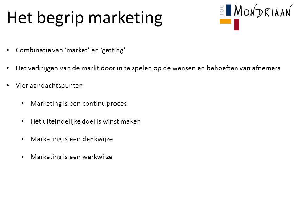Het begrip marketing Combinatie van 'market' en 'getting' Het verkrijgen van de markt door in te spelen op de wensen en behoeften van afnemers Vier aandachtspunten Marketing is een continu proces Het uiteindelijke doel is winst maken Marketing is een denkwijze Marketing is een werkwijze