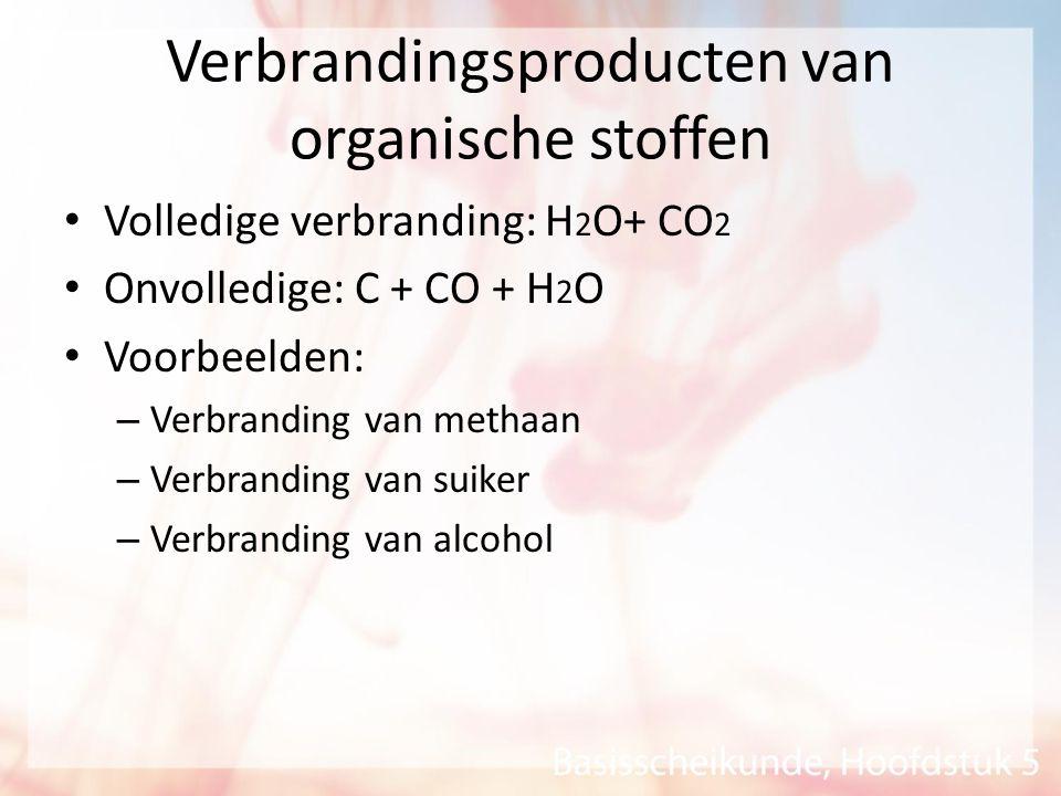 Verbrandingsproducten van organische stoffen Volledige verbranding: H 2 O+ CO 2 Onvolledige: C + CO + H 2 O Voorbeelden: – Verbranding van methaan – V