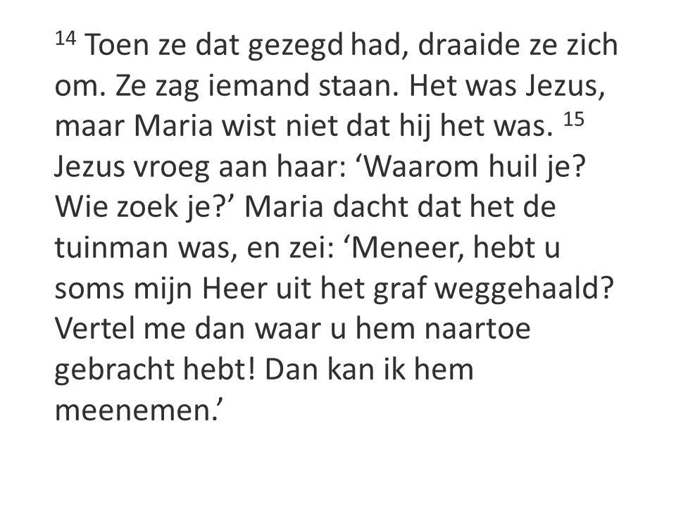 14 Toen ze dat gezegd had, draaide ze zich om. Ze zag iemand staan. Het was Jezus, maar Maria wist niet dat hij het was. 15 Jezus vroeg aan haar: 'Waa
