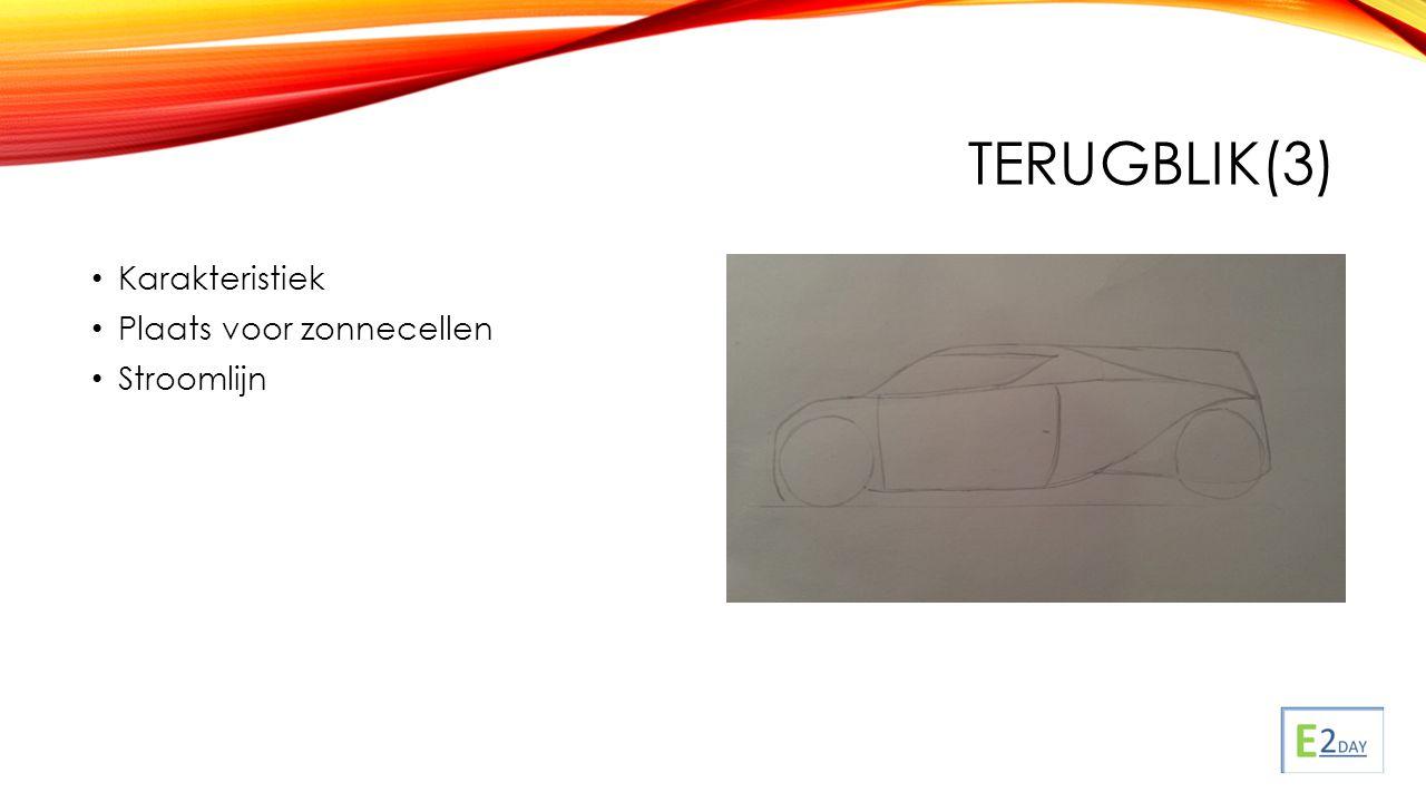 TERUGBLIK(3) Karakteristiek Plaats voor zonnecellen Stroomlijn