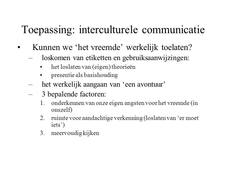 Toepassing: interculturele communicatie Kunnen we 'het vreemde' werkelijk toelaten? –loskomen van etiketten en gebruiksaanwijzingen: het loslaten van