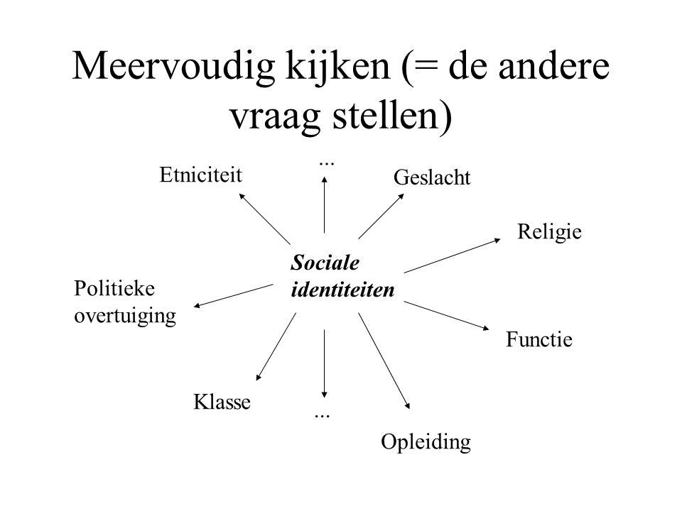 Meervoudig kijken (= de andere vraag stellen) Sociale identiteiten Etniciteit Geslacht Religie Functie Opleiding Klasse Politieke overtuiging...